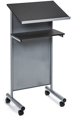 Audio-Visual Direct Wheeled Lectern with Storage Shelf - Silver/Black - Compact Standing Desk for Reading - LapTop Stand