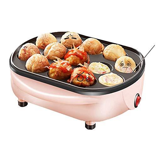 WMLS Elektrischer Takoyaki Maker, 13 Löcher Chibi Maruko Backmaschine Mini Omelett-Herd, Antihaftbeschichtung Einfach zu Verwenden 220v,Rosa