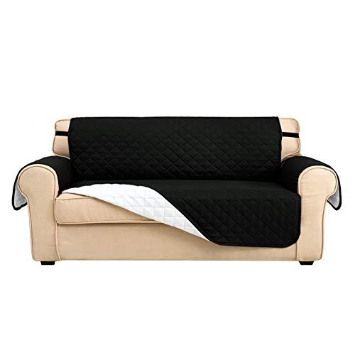 Sofabezüge, Couchhusse, Sofaschonbezug, Slipcover für Hunde, Sofaschoner für Hunde/Haustiere/Kinder, wasserdicht, weich, dick mit Schnalle (schwarz, 4-Sitzer)