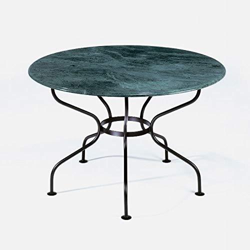 Lambert Provence ijstafel frame ijzer zwart gelakt, plaat marmer groen, H 76 cm, D 125 cm, frame D 99 cm - Houd er rekening mee dat ijzerartikelen die aan vocht worden blootgesteld aan corrosie; verwijderbaar vliegroest kan zich al in