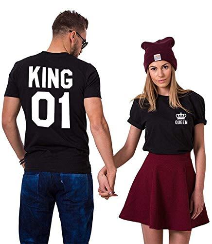 King Queen Shirts Couple Shirt Pärchen T-Shirts Für Zwei Paar Tshirt König Königin Kurzarm 2 Stücke, Schwarz, KING-L+QUEEN-M