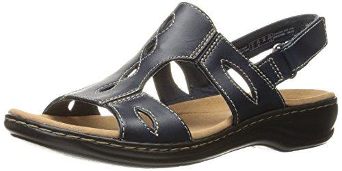 Clarks Women's Leisa Lakelyn Flat Sandal, Navy Leather, 9 N US
