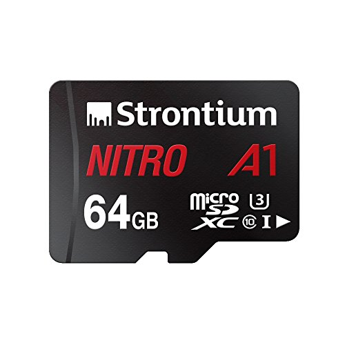 Strontium Nitro A1 64GB Micro SDXC Memory Card 100MB/s A1 UHS-I U3 Class 10 with High Speed Adapter for Smartphones Tablets Drones Action Cams (SRN64GTFU3A1A)