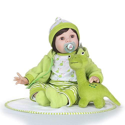 HXPainting Handgemachte Lebensechte Silikonpuppe Neugeborene Baby Puppe Wiedergeboren Perfektes Geburtstags-Puppen-Geschenk Für Kinder 22 Zoll/55 cm, Grün