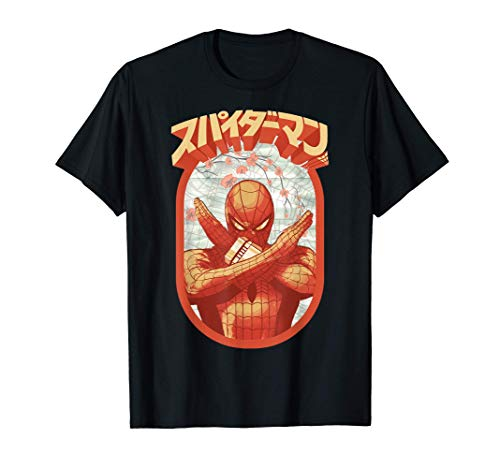 Marvel Spider-Man Retro Floral Kanji Poster T-Shirt
