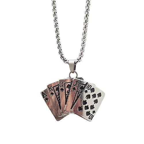 Royal Flush, collana da uomo, con ciondolo a forma di carte da gioco, con catena da 27,6 pollici, con vanga Royal Flush Poker, portafortuna, regalo