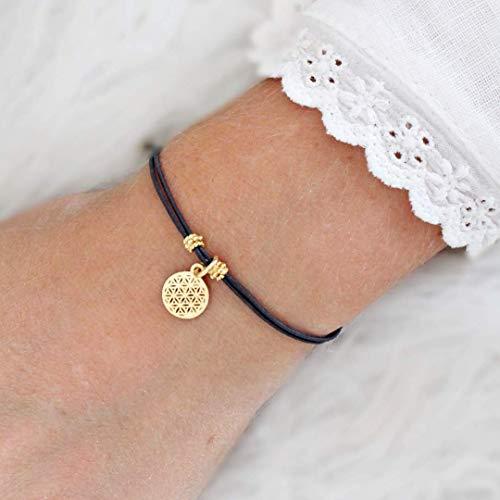 Lebensblume Armband, 925 Silber oder gold, elastisch, Größe verstellbar