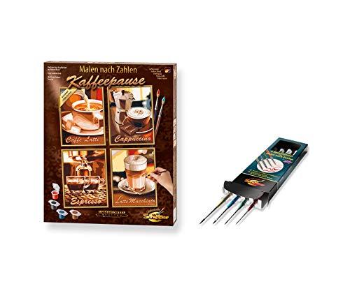 Schipper 609340553 - Malen nach Zahlen - Kaffeepause mit Spezialpinsel Set - Bilder malen für Erwachsene, inklusive Pinsel und Acrylfarben, Quattro je 18 x 24 cm