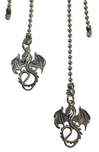 Dragon Fan Light Pull Chain Replacement Set Silver Tone...