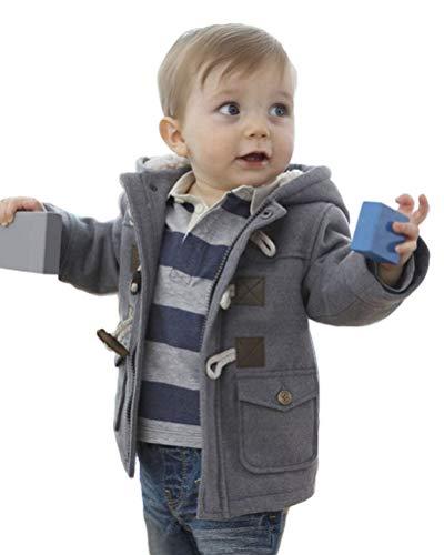 Onsoyours Baby Jungen Jacke Winter Mantel Kapuzen Winterjacke Mantel Fleecejacke Steppjacke Warm Outwear Trenchcoat Hooded Fleece Duffle Mantel Grau 4-5 Jahre