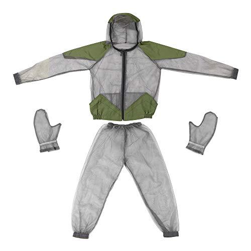 Lixada Veste d'Extérieur Anti-Moustique Costumes à Capuche en Maille Pêche Chasse Camping Veste Insecte Protecteur Maille Chemise Gants Pantalon