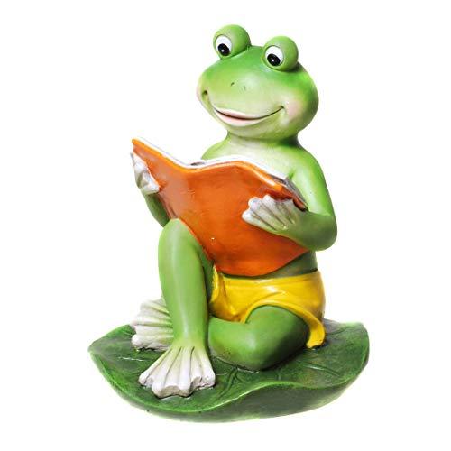 DEKO Frosch mit Buch und Badehose Froschfigur Dekofrosch Froschdekofigur Dekofigur Frosch für den Garten Gartenfigur