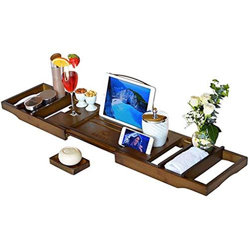 Almohada de Baño Carrito de Bambú para Bandeja de Bañera, Bandeja de Madera para Baño Extensible con Soporte Ajustable para Libro o Tableta, Bandeja para Teléfono Móvil y Soporte para Copa de Vino Alm