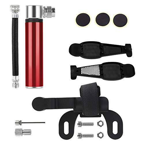 Mini Bike Pump for All Bikes Fits Presta & Schrader Valve, 180 PSI-Full Set Mini Bicycle Pump Hand Pump with Glueless Patch Kit, Perfect for Balloon Inflatable Boat Swim Ring,Red
