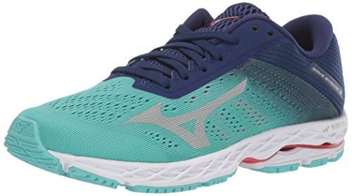 Mizuno Women's Wave Shadow 3 Running Shoe, Blue Grass-Glacier Gray, 6 B US