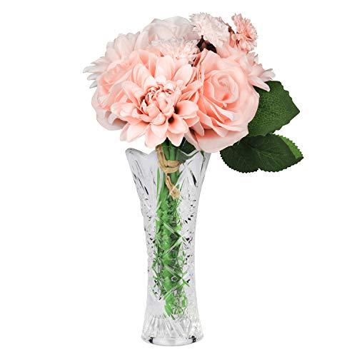 Kunstblumen Seidenblumen mit Vase - Set mit 8 Künstliche Blütenköpfe und Vase für Hochzeit Party, Home Decor, Bridal Bouquet und Tischdeko - Fake Seidenblumen Rose, Dahlie und Chrysantheme