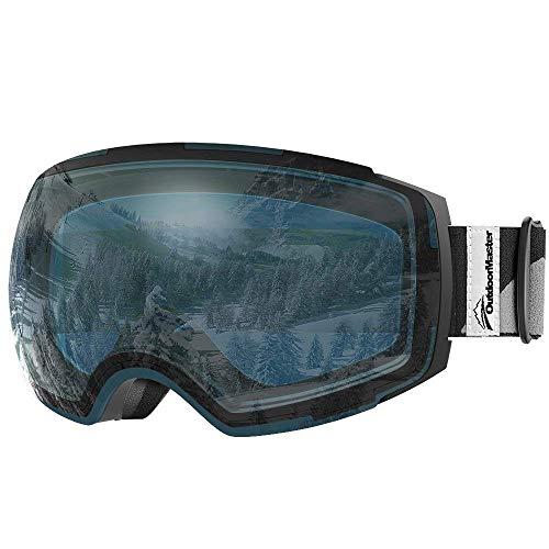 OutdoorMaster Ski Goggles PRO - Frameless, Interchangeable Lens 100% UV400 Protection Snow Goggles for Men & Women ( Black Frame VLT 60% L.Blue Lens and Free Protective Case )