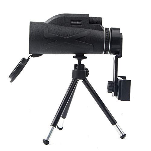 KKDWJ Monokulares Teleskop, 80x100 HD Nachtsicht-Monokularzoom Optisches Fernglas-Monokel mit Telefonadapter und Stativ zum Erkennen des Zielfernrohrs Jagen Wandern Angeln im Freien,Schwarz