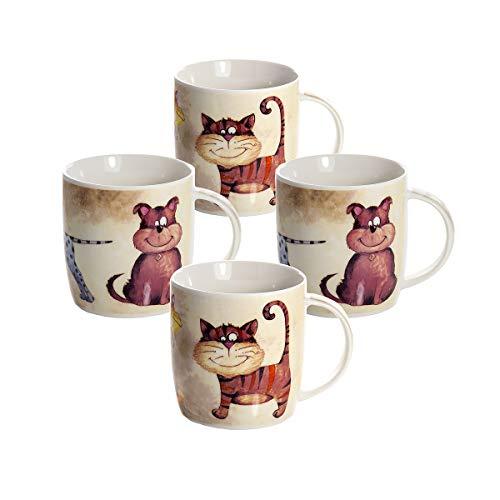 4er Set Kaffeebecher Lustige Tassen 365 ml Mug Porzellan