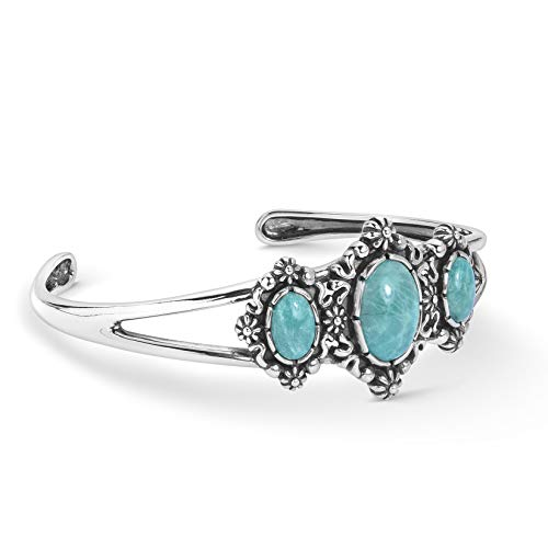 American West Sterling Silver Green Turquoise Gemstone 3-Stone Floral Filigree Cuff Bracelet Size Medium