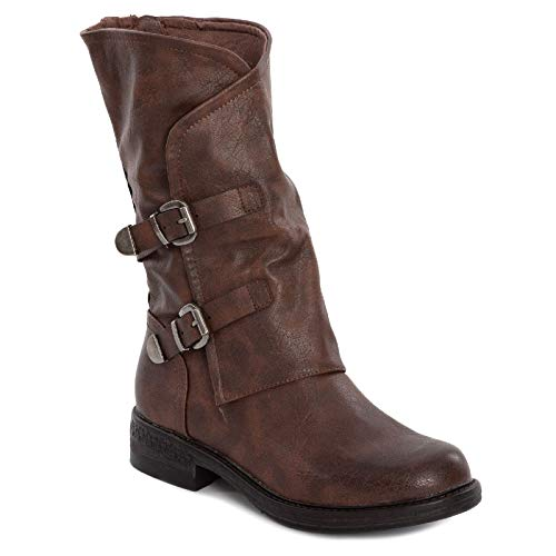 Toocool - Botas de mujer Biker Boots Hebillas Anfibi Motociclista Zapatos Casual G620 Marrón Size: 38 EU