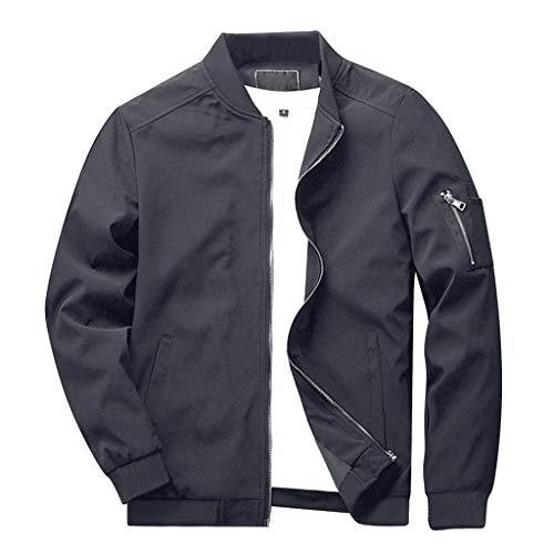 CRYSULLY Men's Windbreaker Casual Classic Slim Bike Motorcycle Coat Outwear Bomber Jacket Coat Grey