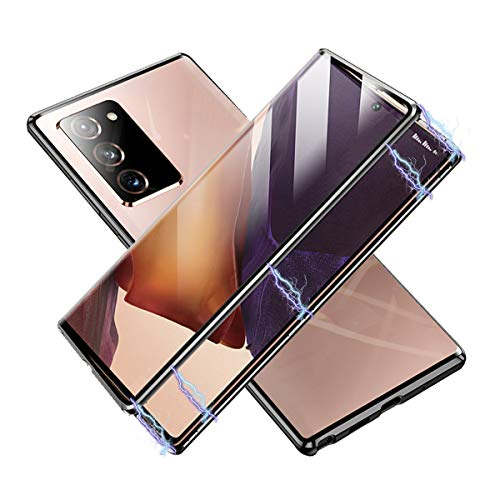 Magnetic Case for Samsung Galaxy Note 20 Ultra, Double Sided HD Tempered Glass Fingerprint Unlock[Metal Bumper Frame], 360° Protection Phone Cover for Galaxy Note 20 Ultra 6.9''