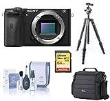 Sony Alpha a6600 Mirrorless Digital Camera Body Only, Tripod Bundle with Vanguard Carbon Fiber Tripod, Bag, 64GB SD Card, Cleaning Kit