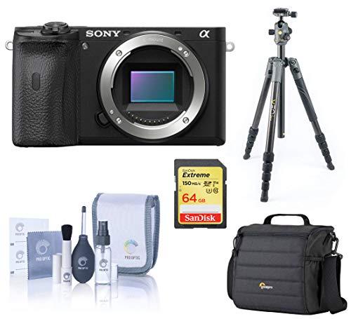 Sony Alpha a6600 Mirrorless Digital Camera Body Only, Tripod Bundle with Vanguard Carbon Fiber Tripod, Bag, 64GB SD Card, Cleaning...