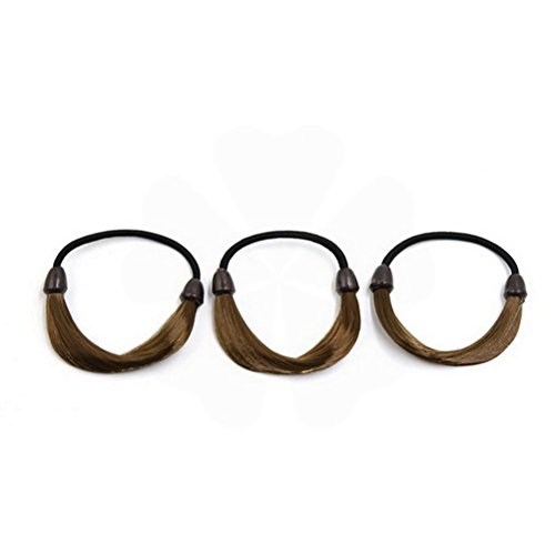 3pcs Light Brown Elastic Wig Hair Ponytail Holders Plaits Twist Rubber Tie Band Headband by Unoopler