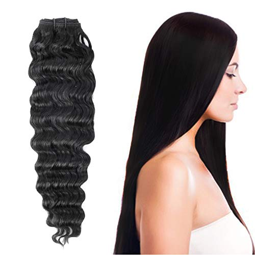 Beyond Your Thoughts 8A 100% Echthaar Tressen zum einnähen 1 Stück Haartressen human hair weft Extension Schwarz Brazilian REMY VIRGIN Haartressen Lockig Deep Weave 66cm