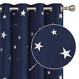 Deconovo Lot de 2 Rideaux Occultants Blue Marine en Chambre pour Enfant Garçon Isolant Thermique Rideaux à Oeillets Grands Etoiles des Imprimés Argents 140x180cm