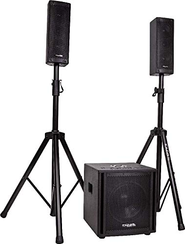 "IBIZA CUBE104 2.1 Aktiv Lautsprecher Set 10\"" Subwoofer Stativen 800 Watt RMS Disco Party DJ Club Event"