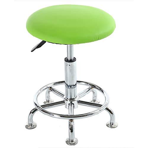DLMPT Bureaustoel, directiestoel, draaistoel, in hoogte verstelbaar, draaibaar, 360 graden draaibaar, geschikt voor keuken, kantoor, schoonheidssalon, tattoo, kapsalon, groen, zonder wielen