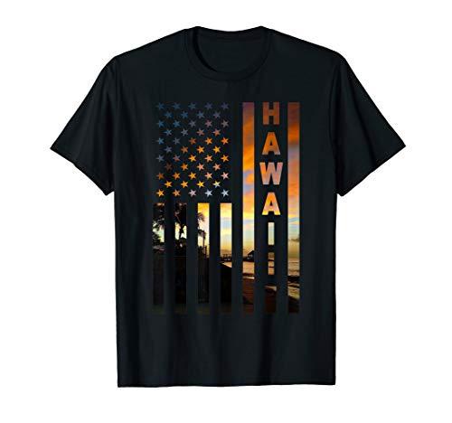 Hawaii Sunset American Flag Honolulu Hawaiian Island T-Shirt