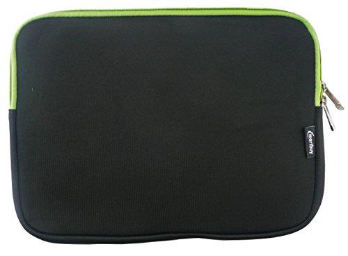 Emartbuy® Schwarz / Green Wasserdicht Neopren weicher Reißverschluss Kasten Abdeckung Sleeve mit Green Interieur&zip Geeignet Für Asus EeeBook E402SA 14 Zoll NoteBook ( 13-14 Zoll Notebook )