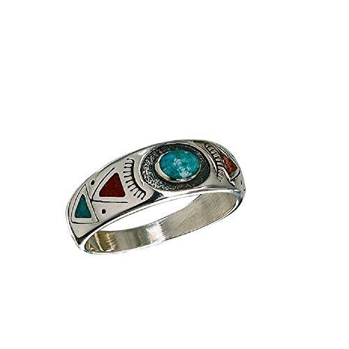 SF Indianerschmuck Ring Türkis Koralle Chip Inlay Westernschmuck Indianerring Navajo Style (54 (17.2))