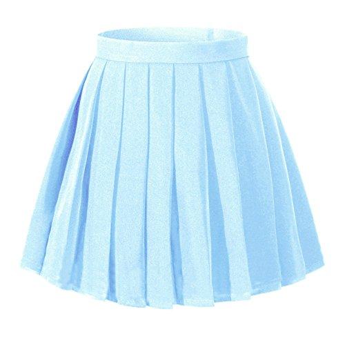 Girl's Dress up Cosplay Costumes High Waist School Skirt£¨S,Light blue)