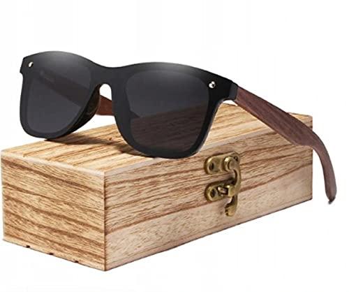 KINGSEVEN Gafas de sol de madera polarizadas para hombres y mujeres, protección UV, marco de madera de nogal