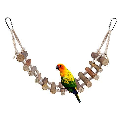 HEEPDD Uccello Altalene, Natural Rope Ladder Uccelli Toy Parrot Hanging Perches Accessori per Gabbie di Oscillazione Addestramento Decorativo per Gabbie per Uccelli