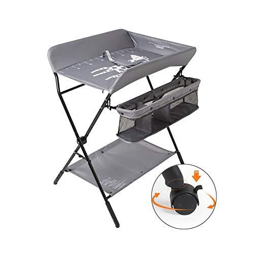 Windeltisch Babymassage-Pflegetisch mit Rad, Höhenverstellbarer Wickeltisch Schminktisch für Kleine Räume/Bad/Kinderzimmer, Zusammenklappbar (Color : Gray)