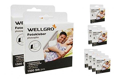 WELLGRO® Fototapes, Fotokleber, Fotosticker säurefrei, beidseitig klebend, in Spenderbox - 1500, 3000 oder 6000 Stück, Stückzahl:3000 Stück