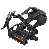 HILAND DRBIKE - Pedales de bicicleta estática con correas y rosca de 9/16 pulgadas, para bicicleta estática, 1 par