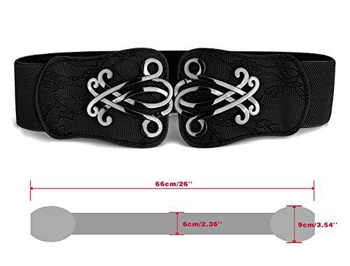 Damen Gürtel Metall Verriegelung Schnalle 6cm Breite Dehnbarer Bund Taillengürtel Schwarz – Schwarz, W23 – W30 - 3