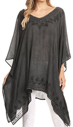 Sakkas 1801 - Regina Frauen leichte Stonewashed Poncho Top Bluse Kaftan vertuschen - Schwarz - OS