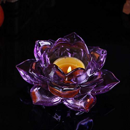 niawmwdt 7 Colori Portacandele in Cristallo di Loto Portacandele in Feng Shui Candeliere per Centrotavola Candelabri Matrimonio Casa Bar Decorazione del Partito, Viola