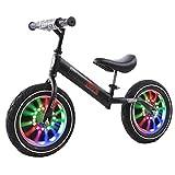 Bicicleta Sin Pedales Bici 12/14 Pulgadas Niños Bicicleta De Equilibrio De Entrenamiento Con Ruedas Iluminadas, Principiante Bicicleta Deportiva Sin Pedal Para Edades De 1 2 3 4 5 Años Niños Niñas