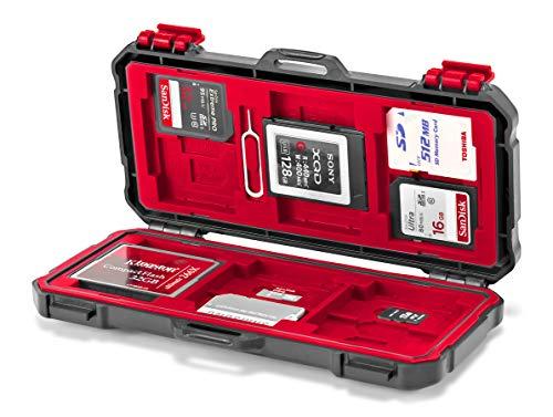 ROKO MCC-03 platte mini koffer voor 24 geheugenkaarten (CFast, CF, XQD, SD, Mini SD) en 12 SIM kaarten (Micro SIM, Nano SIM)
