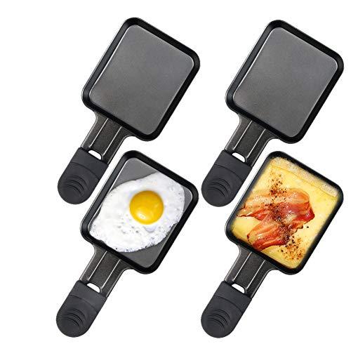 Raclette Pfännchen Ersatz Raclette Grill mit Antihaftbeschichtung 4 Pfännchen, 18x8x1.5cm, Schwarz