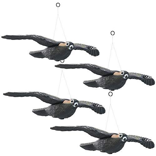 Royal Gardineer Vogelattrappe: 4er-Set Vogelschreck Falke zum Aufhängen, 54 cm Flügel-Spannweite (Vogelattrappe für Balkon)